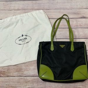 Prada Vintage Nylon and lime green purse